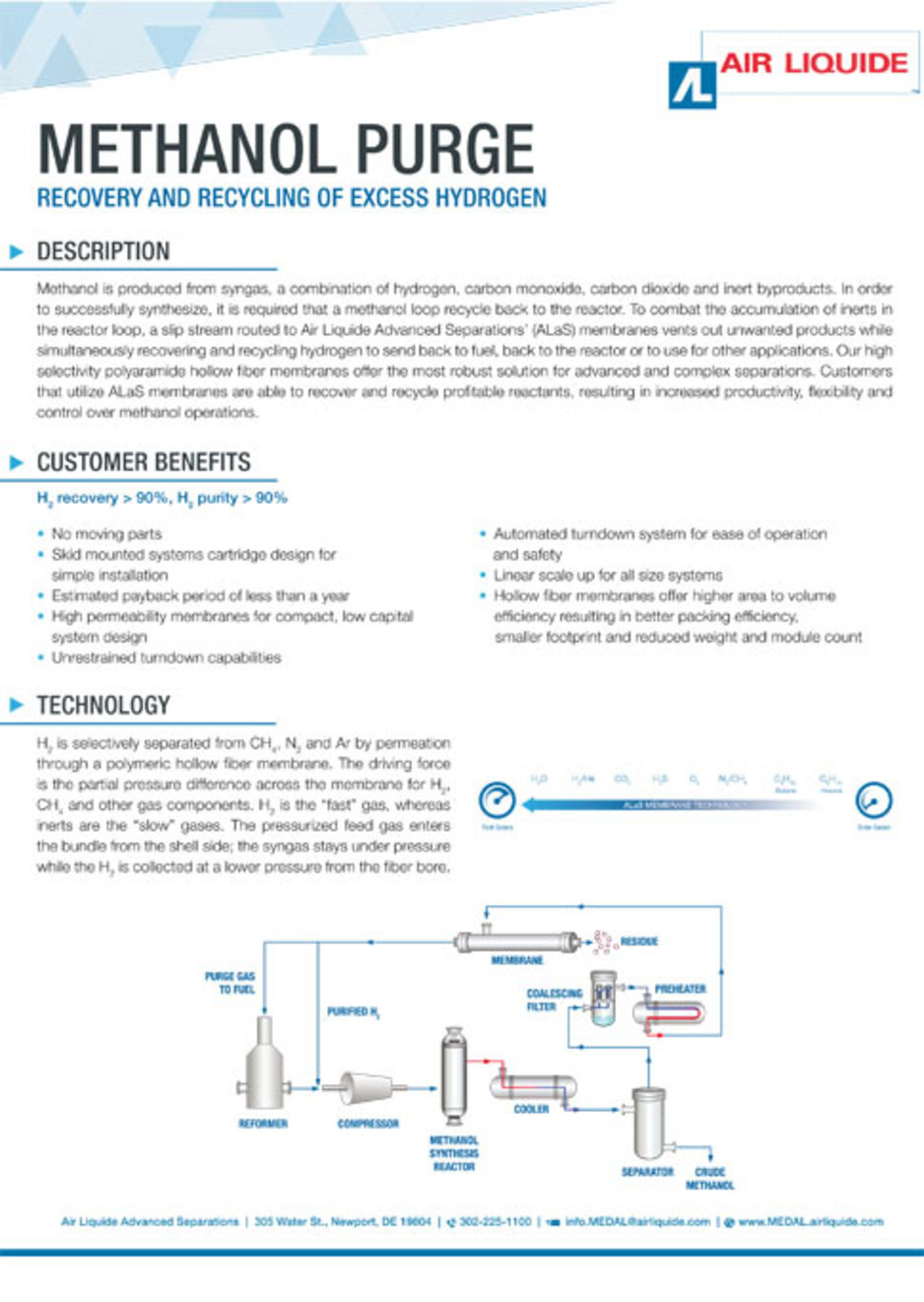Methanol Purge, recovery and recycling of excess hydrogen